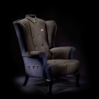 High Quality Italian Military Uniform Upholstered Wingchair