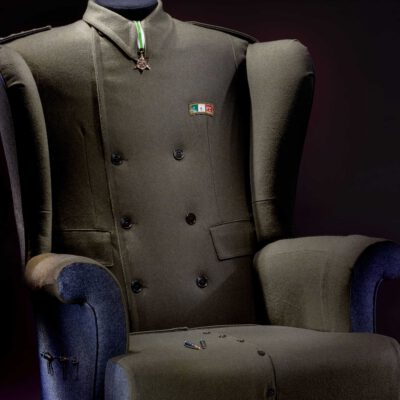 Italian Military Uniform Upholstered Wingchair