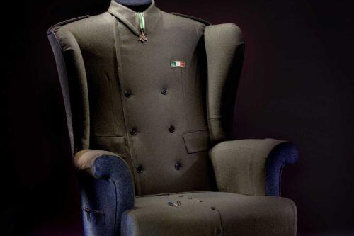Italian Military Uniform Upholstered Wingchair