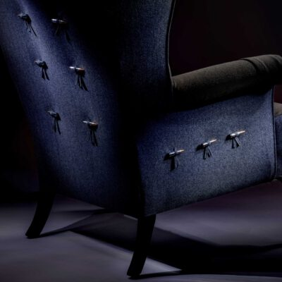 Bespoke Upholstered Wingchair original Italian Military Uniform