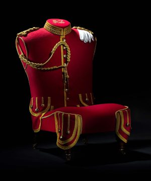 Lovingly Upholstered Military Pipers Uniform Hall Chair.
