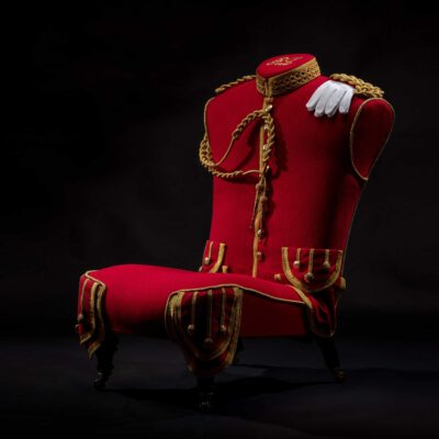 Reupholstered Original Military Pipers Uniform Hall Chair.
