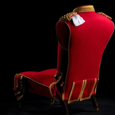 Bespoke Upholstered Military Pipers Uniform Hall Chair.