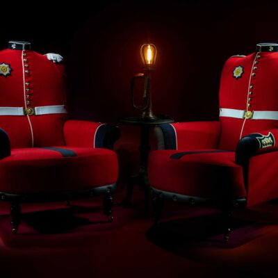 Bespoke armchairs upholstered from original Irish Guard Tunic uniforms