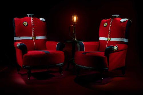 Bespoke armchairs upholstered from original Irish Guard Tunic uniforms