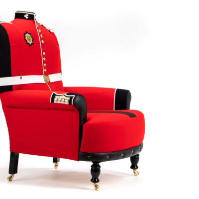 Unique armchairs upholstered from original Irish Guard Tunic uniforms