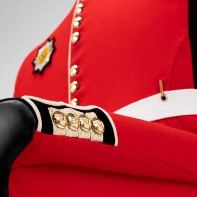 Beautifully detailed upholstered Irish Guard Tunic uniforms armchairs
