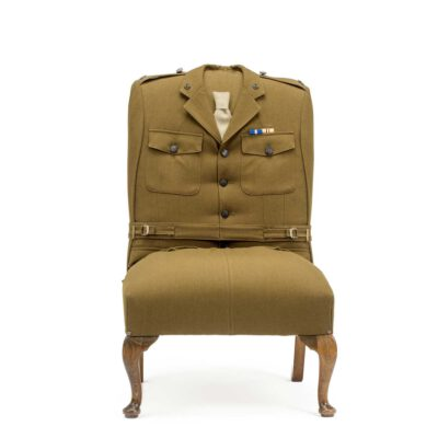 Custom British army uniform upholstered chair