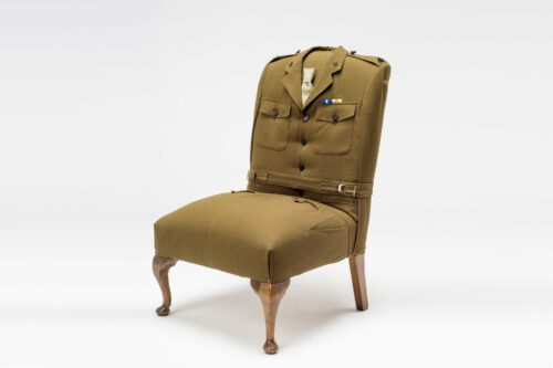 Army uniform upholstered chair