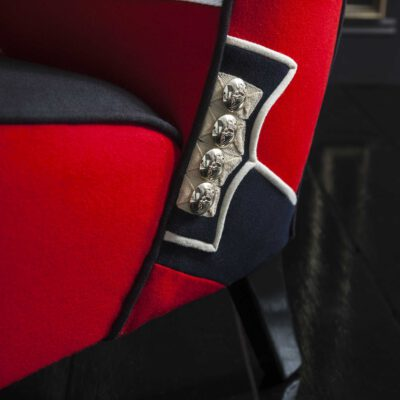 Chair Upholstered with Irish Guard Uniform