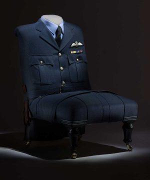 Chair Upholstered with RAF Flight Lieutenants Uniform