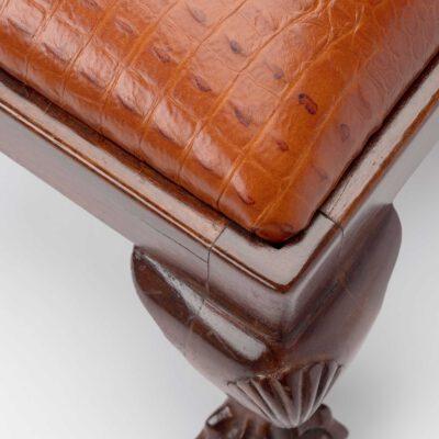 Antique crocodile leather fender stool
