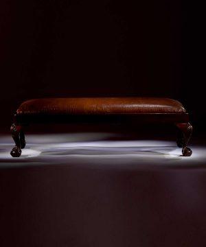 Crocodile printed leather antique fender stool