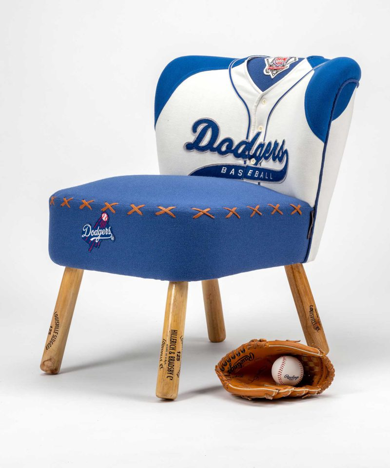 Dodgers baseball jersey upholstered chair