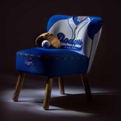 Dodgers baseball vintage jersey upholstered chair
