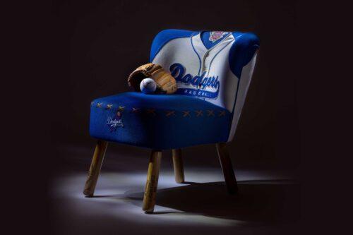 Vintage Dodgers baseball jersey upholstered chair
