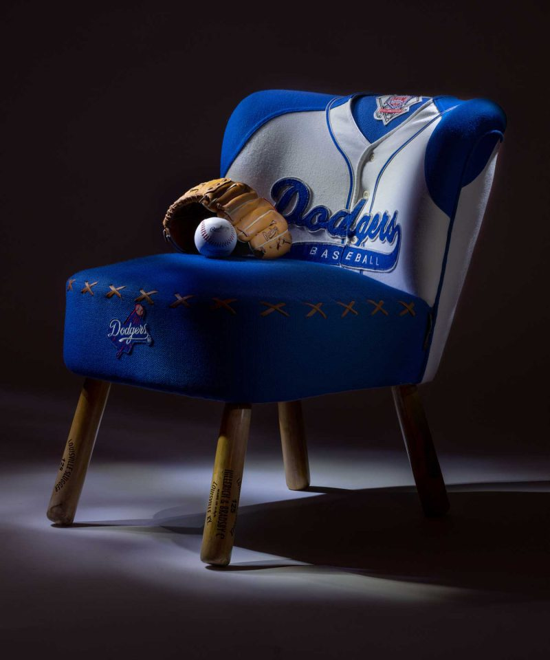 Vintage Dodgers baseball jersey upholstered chair