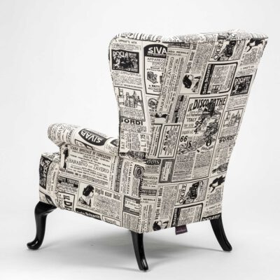 Fireside wing chair contemporary vintage newspaper print