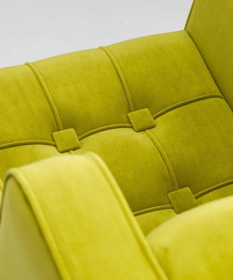Traditionally upholstered pistachio velvet Empire chair