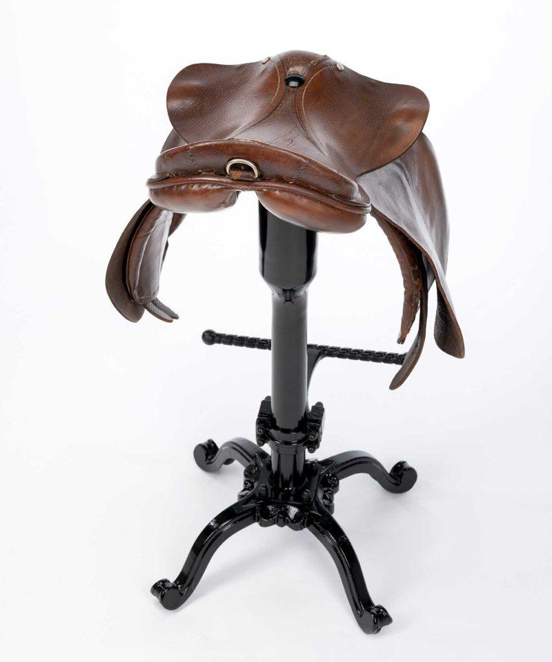 Bespoke tan leather saddle bar stool
