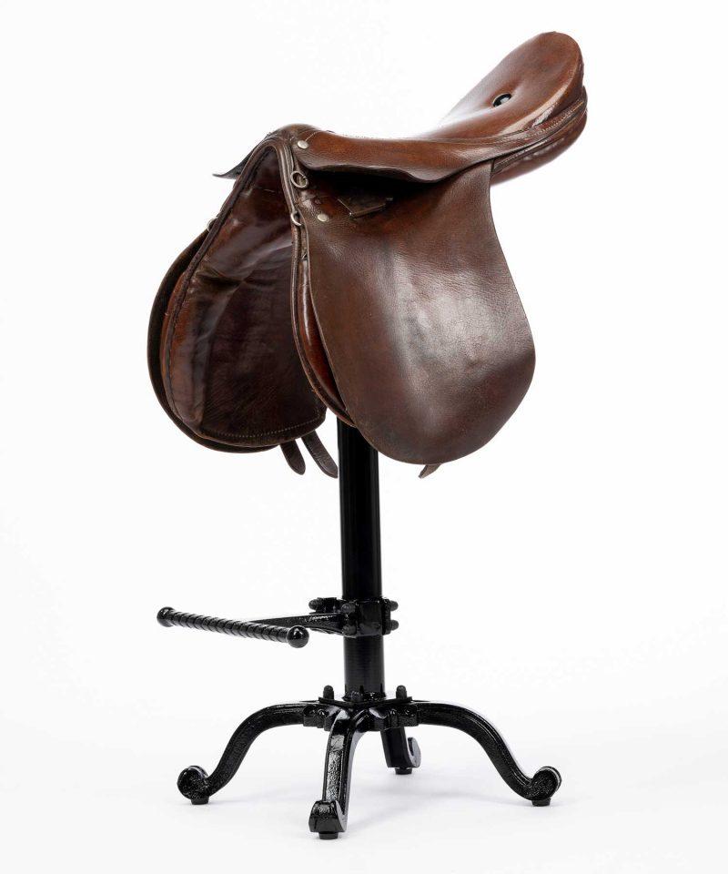 Bespoke vintage leather saddle bar stool