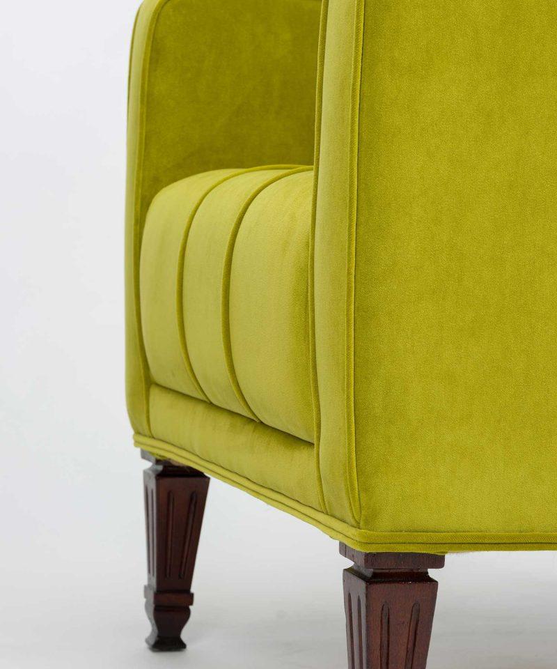 Custom restored pistachio velvet Empire chair