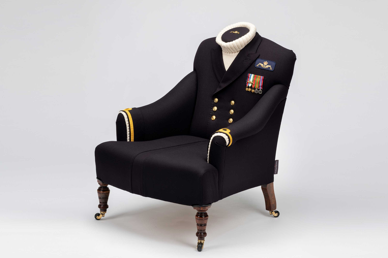 Custom submariner naval uniform chair
