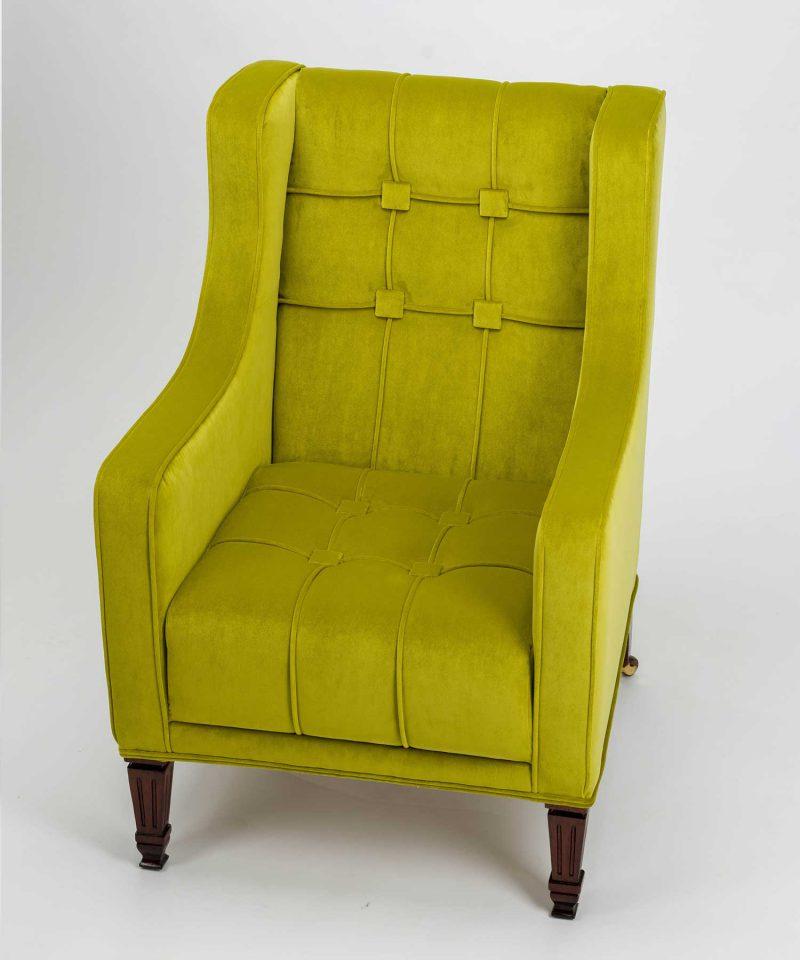 Geometric Panelled Pistachio Velvet Empire Chair