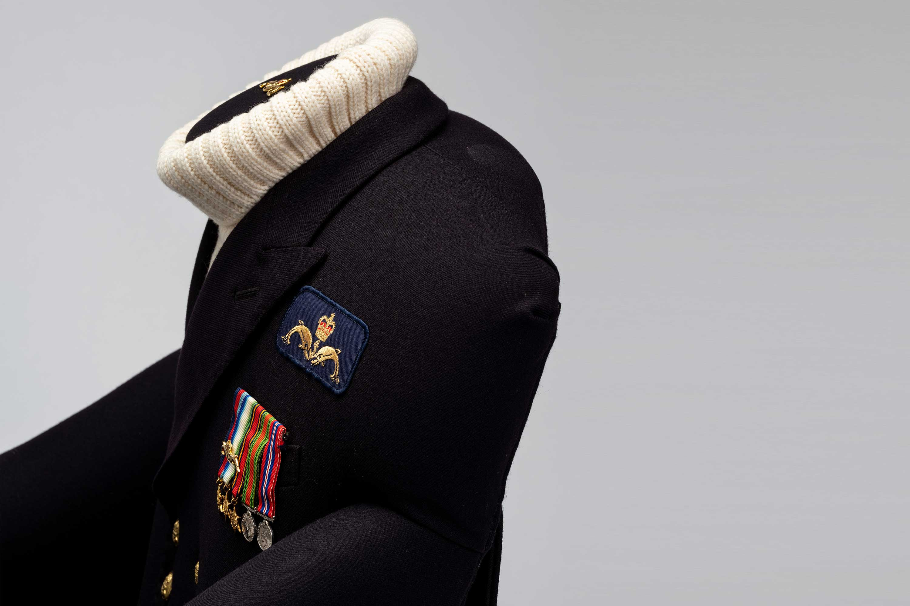 Submariner naval uniform crafted into bespoke chair