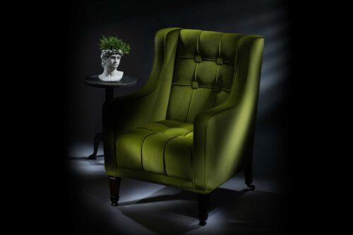 The Antique Pistachio Velvet Geometric Empire Chair