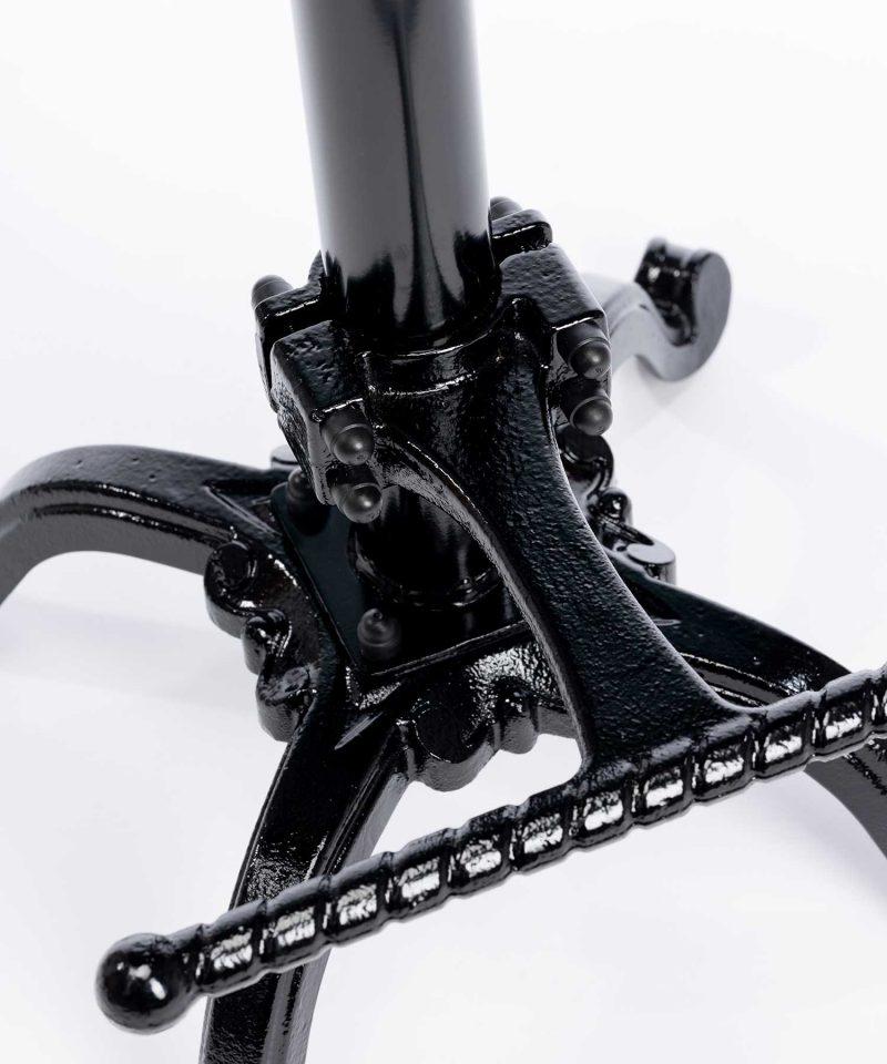 Bespoke leather saddle bar stool with black stove enameled Finish