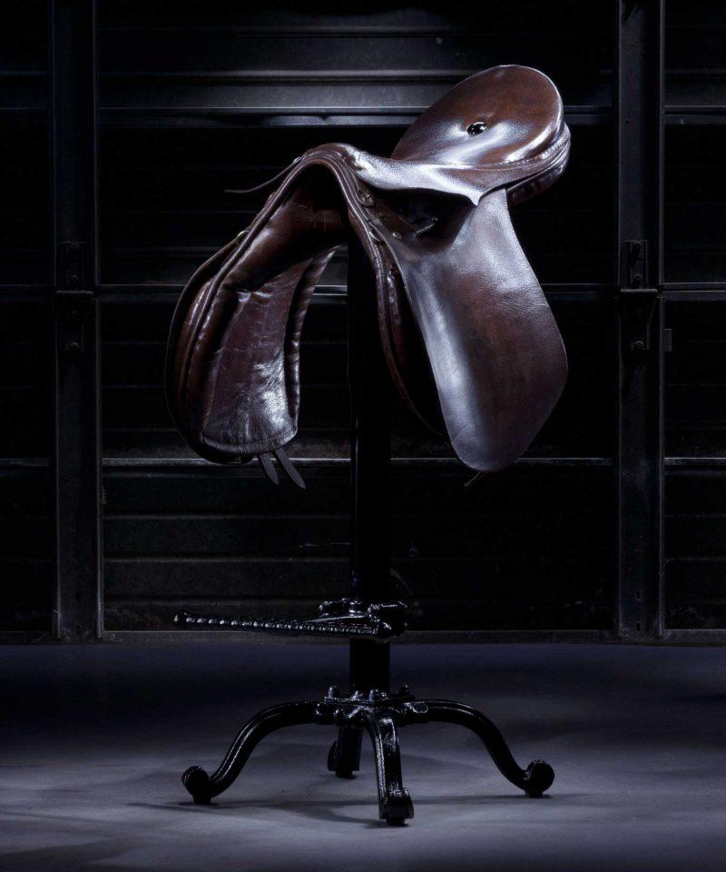 Vintage leather saddle bar stool