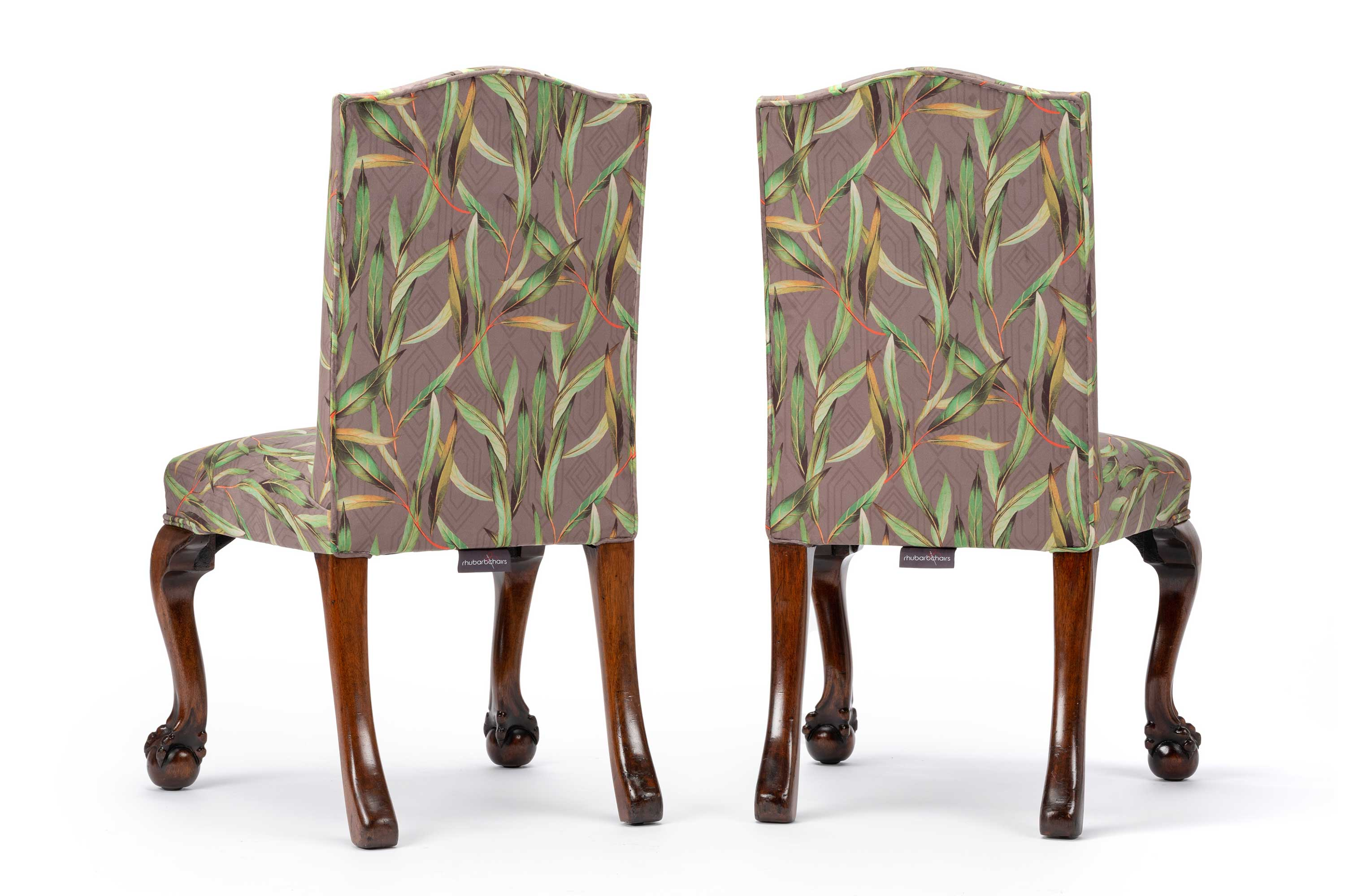Eclectic Pair Of Antique Victorian Botanical Printed Velvet Hall Chairs