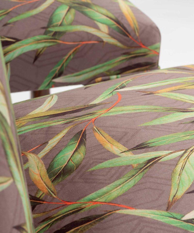 Detailed Botanical Printed Velvet Hall Chairs