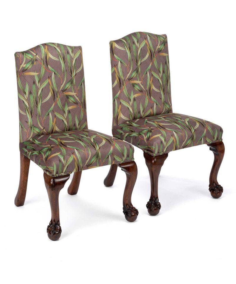 Unique Victorian Mahogany Botanical Printed Velvet Hall Chairs