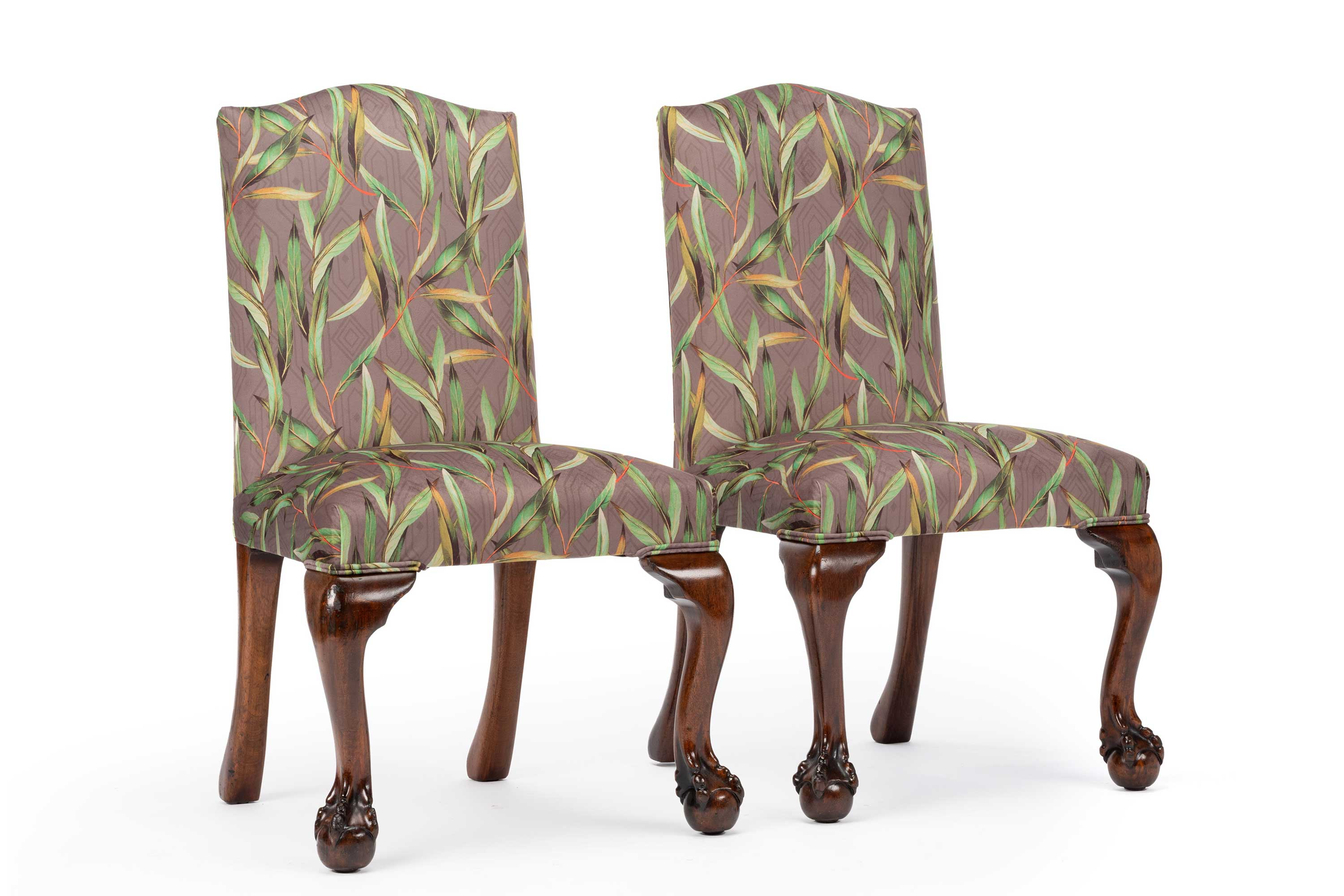 Unique Victorian Mahogany Botanical Printed Velvet Hall Chairs