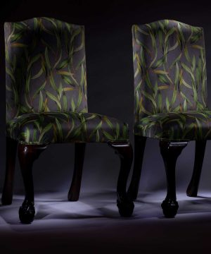 Late Victorian Mahogany Botanical Printed Velvet Hall Chairs