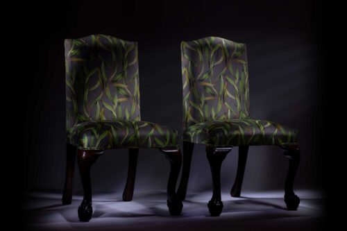 Late Victorian Mahogany Botanical Printed Velvet Hall Chairs