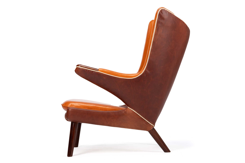 Hans Wegner cognac leather Papa Bear Chair By A. P. Stolen.