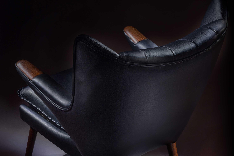 A P Stolen Black Leather Papa Bear Chair