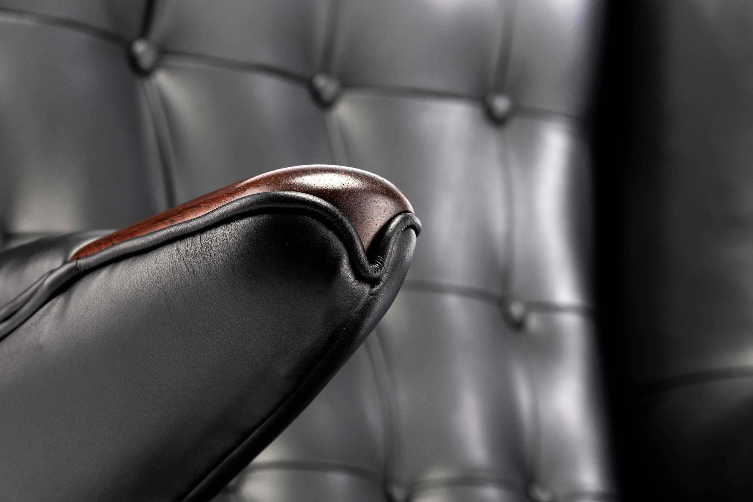 A P Stolen Iconic Black Argentinian Leather Papa Bear Chair