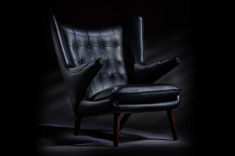 Hans Wegner Black Leather Papa Bear Chair