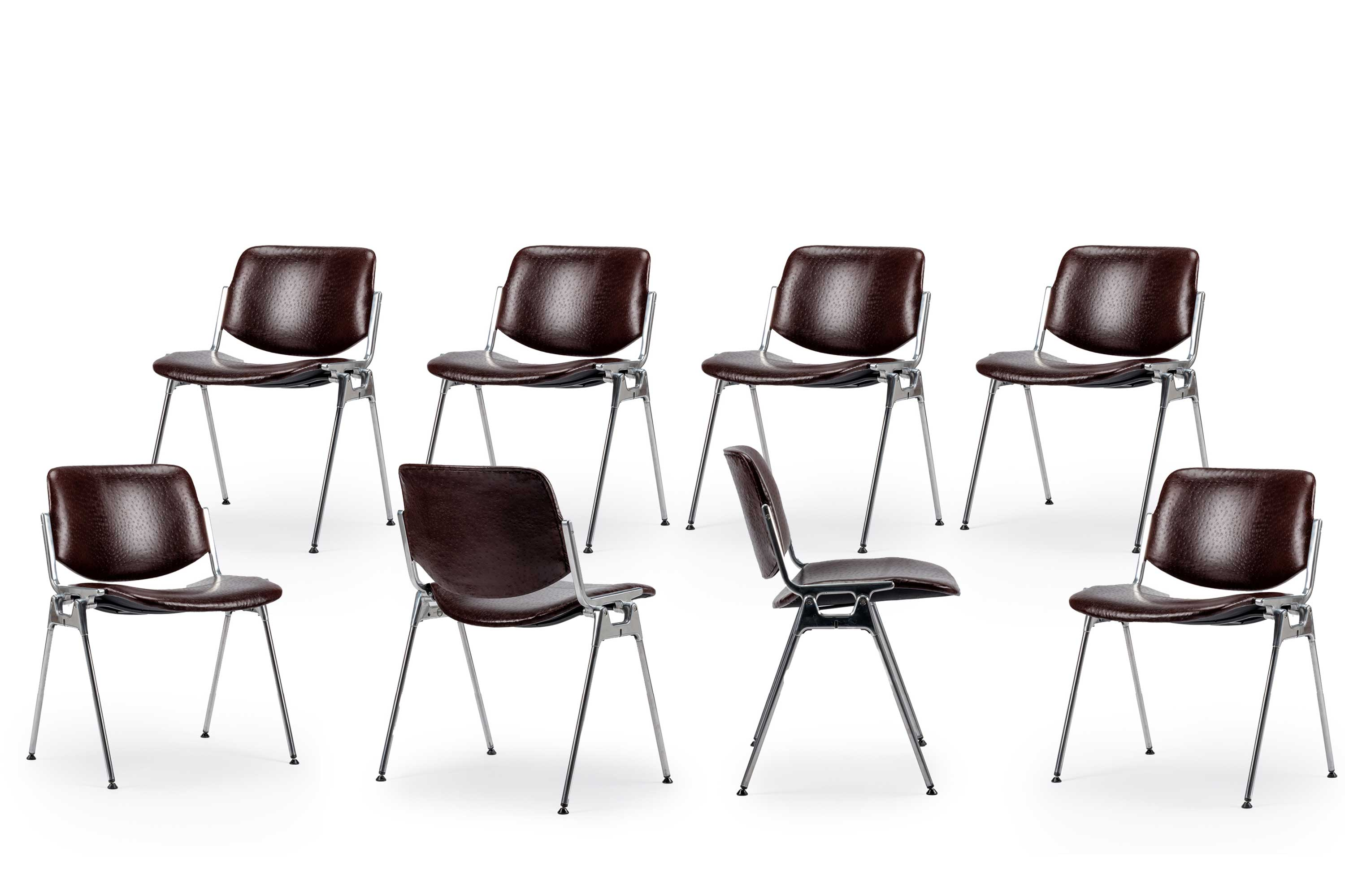 Giancarlo Piretti 'Ostrich' Leather Stackable Chairs