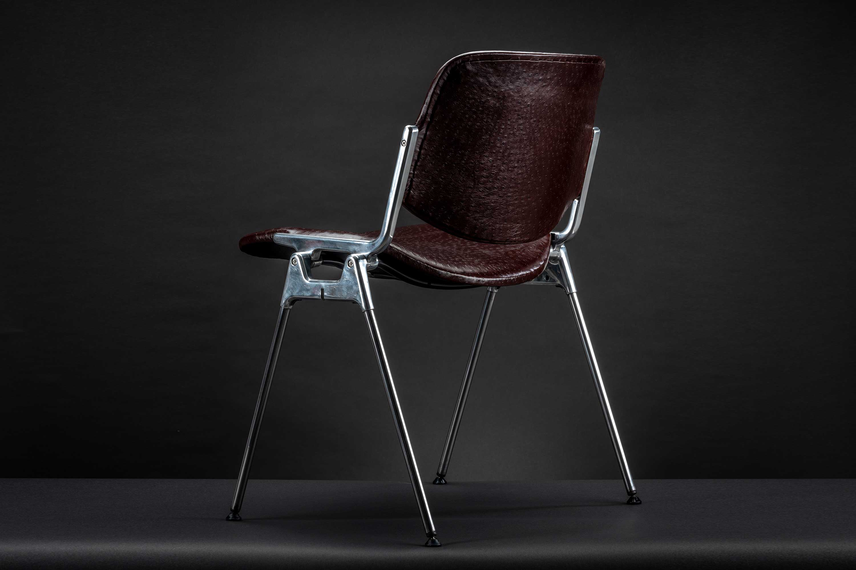 Vintage Giancarlo Piretti 'Ostrich' Leather Stackable Chair