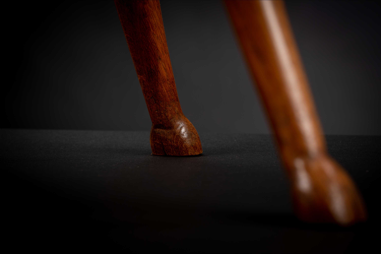 Vintage Oak Hand Carved Deer Hoof Foot Side table