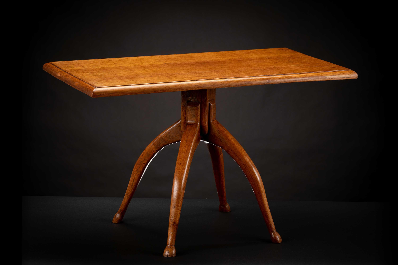 Vintage Oak Deer Hoof Footed Side Table