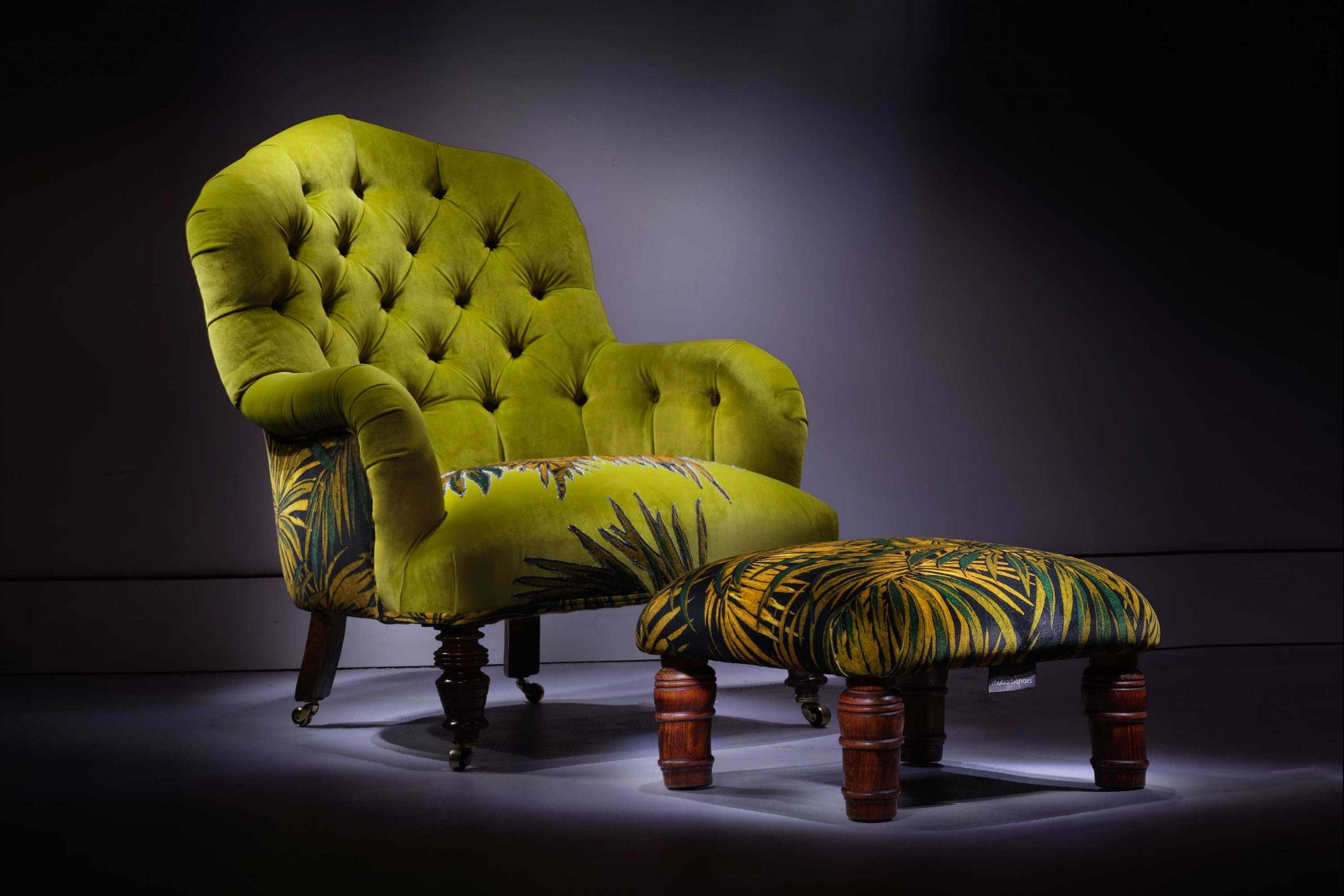 Victorian palm tree armchair and footstool