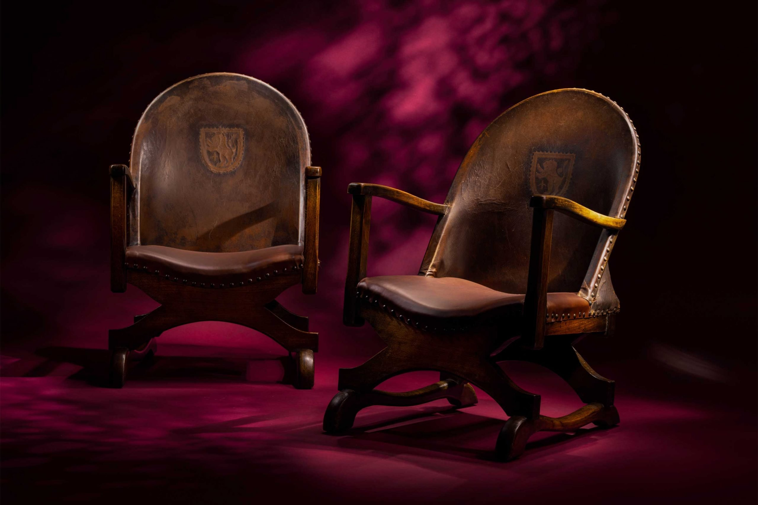 Spanish Heraldic Crested Leather Chairs